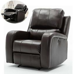 Electric Power Air Leather Recliner Chair Large Padded Armch