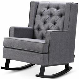 Elegant Fabric Upholstered Rocking Chair Button-Tufted Wingb
