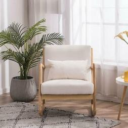 Fabric Rocking Chair with Back Solid Wood Curved Legs Padded