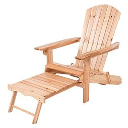 Giantex Foldable Adirondack Wood Chair With Pull-Out Footres