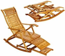 Foldable Rocking Chair Bamboo Arm Chair Indoor Outdoor Balco