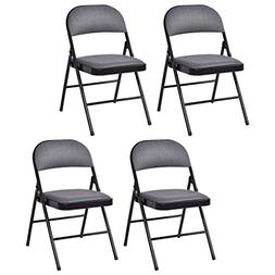 Giantex 4-Pack Folding Chairs Fabric Upholstered Padded Seat