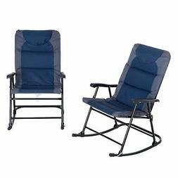 Outsunny Folding Padded Outdoor Camping Rocking Chair Set -