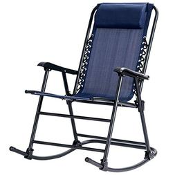 Goplus Folding Rocking Chair w/Headrest Outdoor Portable Zer