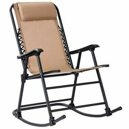 Goplus Folding Zero Gravity Rocking Chair Rocker w/Headrest