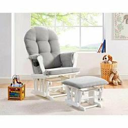 Glider Rocking Chair Ottoman Set White With Gray Cushion Woo