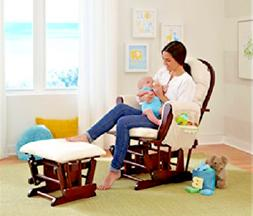 Glider Ottoman Set Rocking Chair Baby Rocker Beige Nursery R