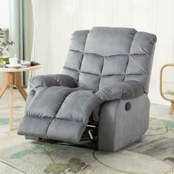 Manual Recliner Chair Durable Living Room Sofa with Track Ov