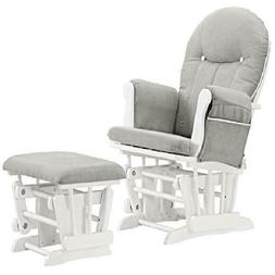 Glider Rocking Chair with Ottoman Baby Infant Nursery Set Wh