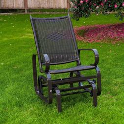 NatureFun Glider Rocking Lounge Chair Black Porch Glider Out