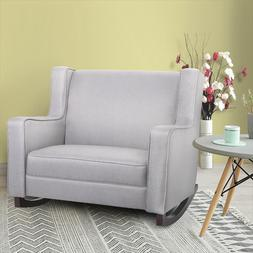 AECOJOY Gray Fabric Rocker Morden Rocking Chair Comfortable