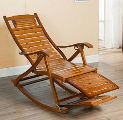 Heavy Duty Bamboo Rocking Chair Adjustable Lounge Recliner L
