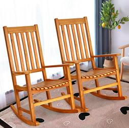 Indoor Outdoor Wooden High Back Rocking Chair Front Porch Ro