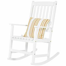 Outdoor Indoor Wood Rocking Chair Patio Porch Rocker - White