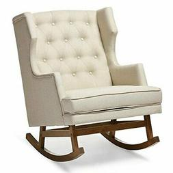 Baxton Studio Iona Tufted Wingback Rocker in Light Beige and