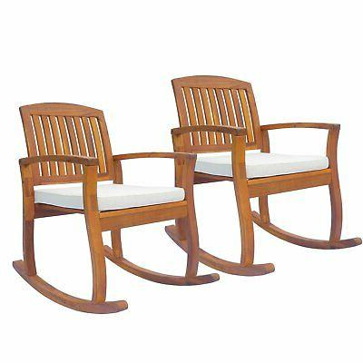 1pc 2pc acacia wood outdoor rocking chair