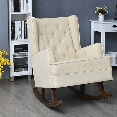 2 in 1 Tufted Rocking Chair Wingback Lounge Leisure Armrest