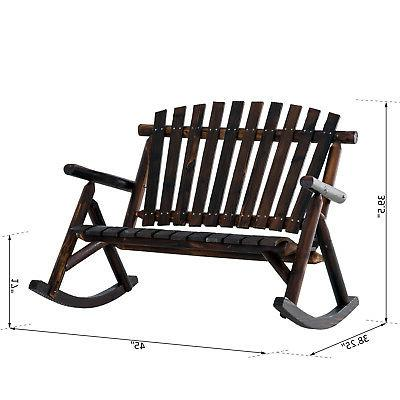 Outsunny 2 Person Wood Rustic Adirondack Chair Porch