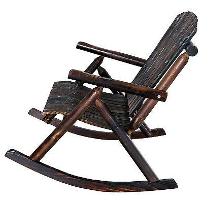 Outsunny Person Fir Wood Rustic Adirondack Rocking Chair Porch