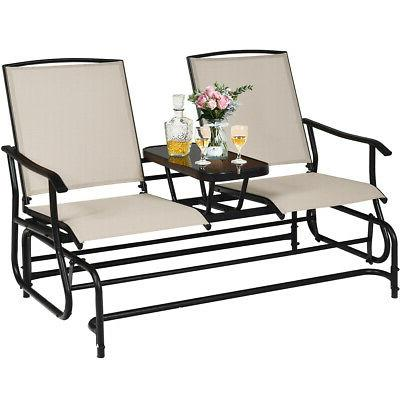 2 person outdoor patio double glider chair