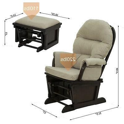 2PC Glider Chair with Ottoman Suede Footrest