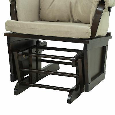 2PC Nursery Rocking Chair with Ottoman Suede