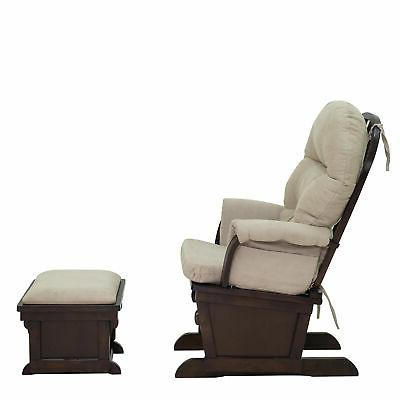 2PC Nursery Chair with Suede Footrest Sofa