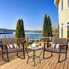 3 Pcs Patio Rattan Wicker Furniture Set Rocking Chair Coffee