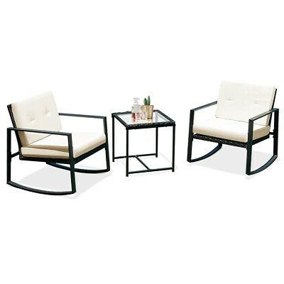 3PCS Rattan Wicker Rocking Chair Bistro Furniture Set Patio