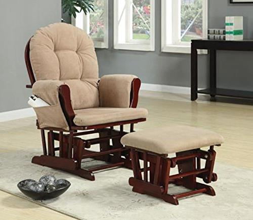 Coaster Traditional Upholstered Glider Rocker with Matching Ottoman