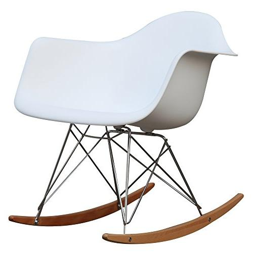 Fine Mod Imports Home Indoor Patio Rocker Arm Chair, White