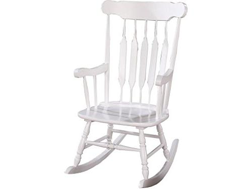 Coaster Traditional White Wood Rocking Chair with Slatted Ba