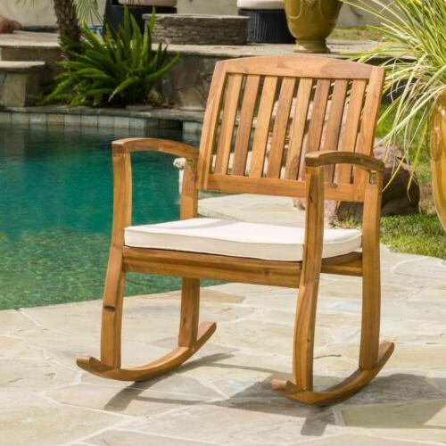 Sadie Outdoor Acacia Wood Rocking Chair with Cushion