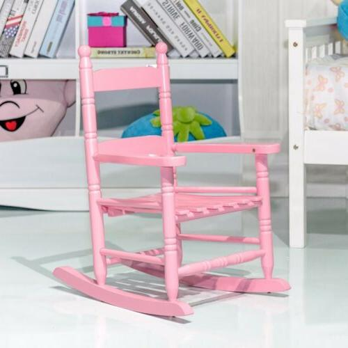 Bedroom Kid Toddler Wooden Rocking Chair Stool Seat Slat Bac
