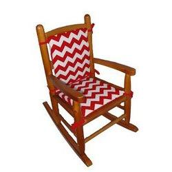 Baby Doll Bedding Chevron Junior Rocking Chair Pad, Red
