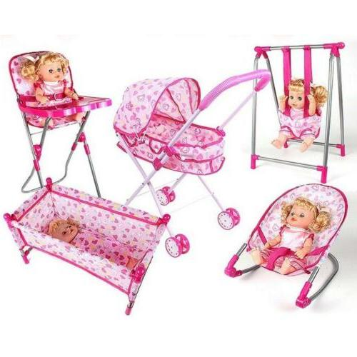 Baby Doll Rocking Cradle Bed Crib Simulation ABS Furniture