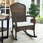 Beige Cushion Brown Resin Wicker Patio Porch Rocking Chair O