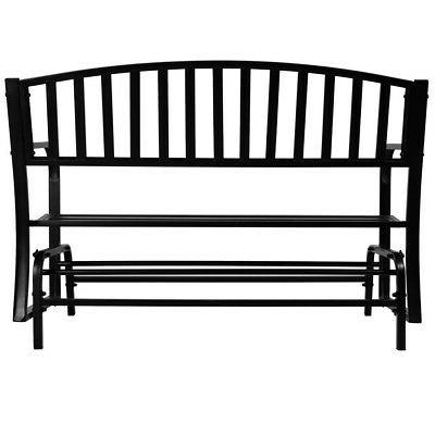 Bench Glider Outdoor Deck Loveseat, Black