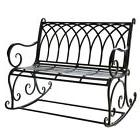 Black Metal Rocker Rocking Chair Bench Outdoor Safe Porch Pa