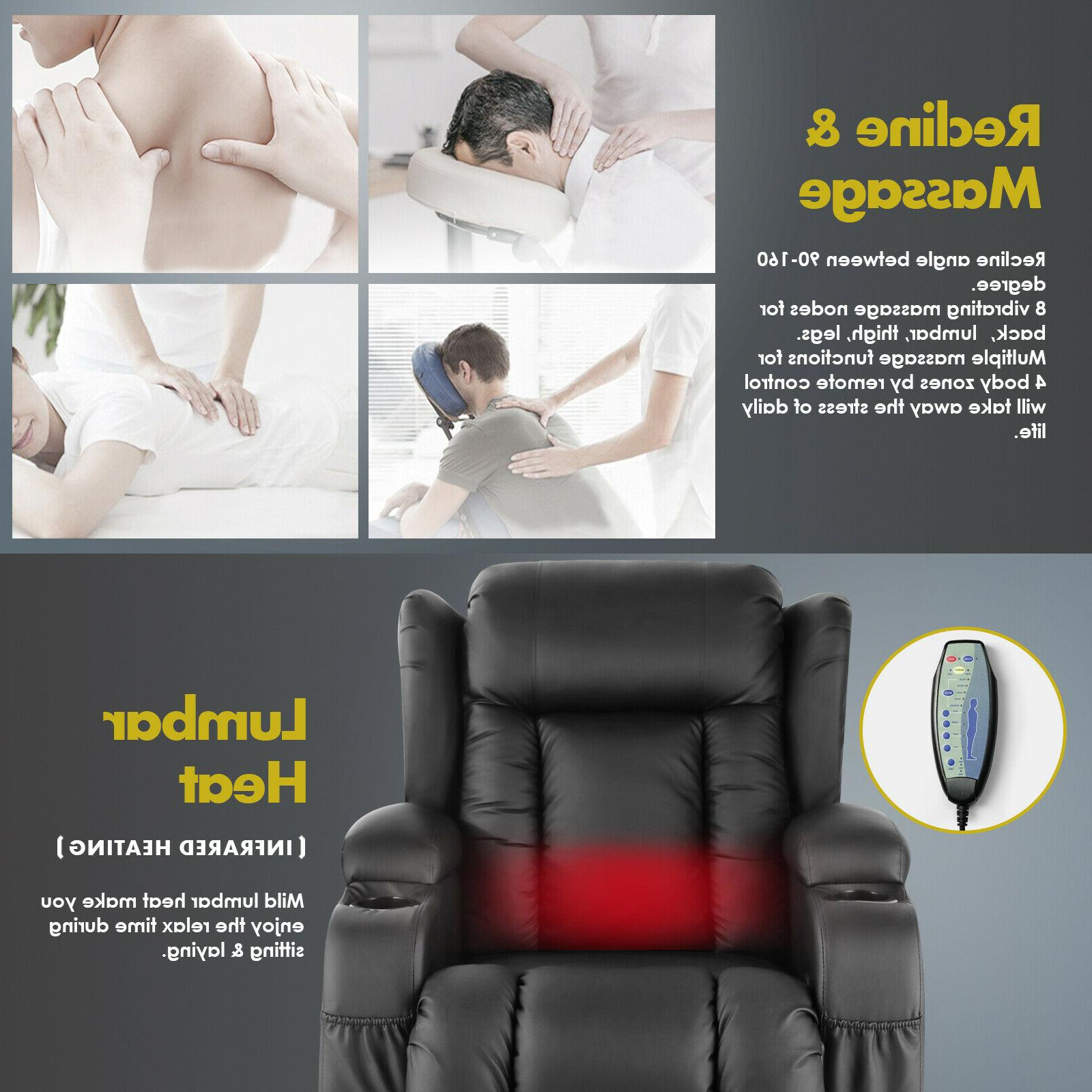 Oversize Massage Recliner Vibrate w/Control