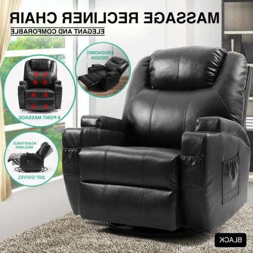 black oversize leather massage chair recliner 360heat
