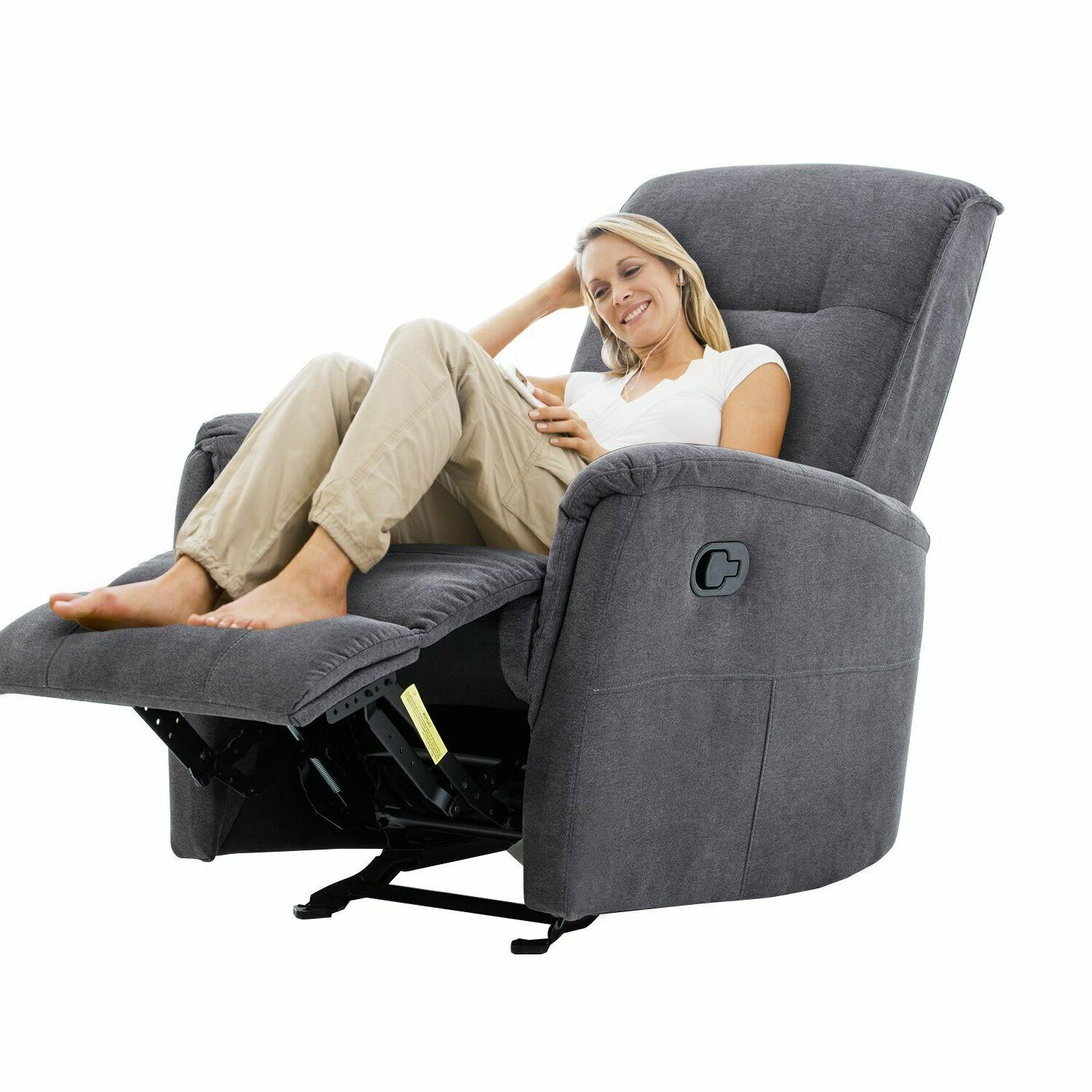 Comfy Recliner Sofa Living Room Chair Rocking Chair Gliding