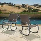 Contemporary Wicker Rocking Chair Modern Outdoor Patio Brown