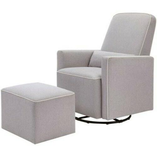 DaVinci Olive Upholstered Glider in Grey with Cre