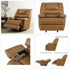 Deluxe Over Stuffed Rocking Recliner Chair Built-in Storage