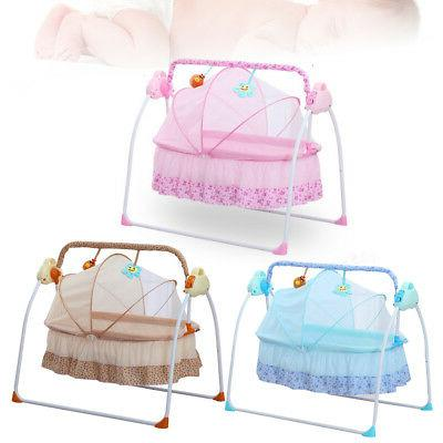 Electric Baby Crib Cradle Auto-Swing Bouncer Bed Rocking Cha