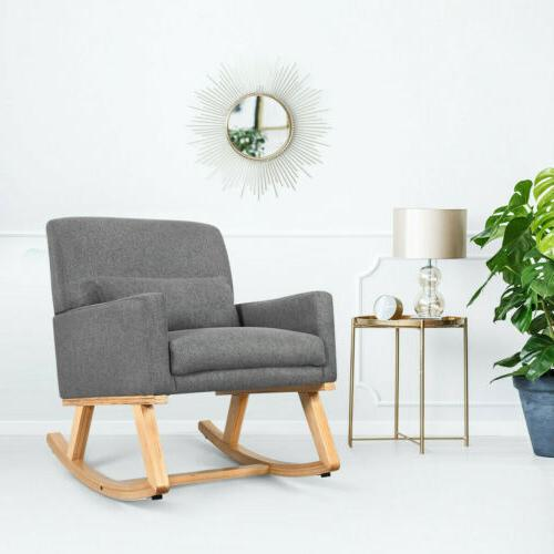Massage Rocking Chair Upholstered Armchair Patio Relax Rocke