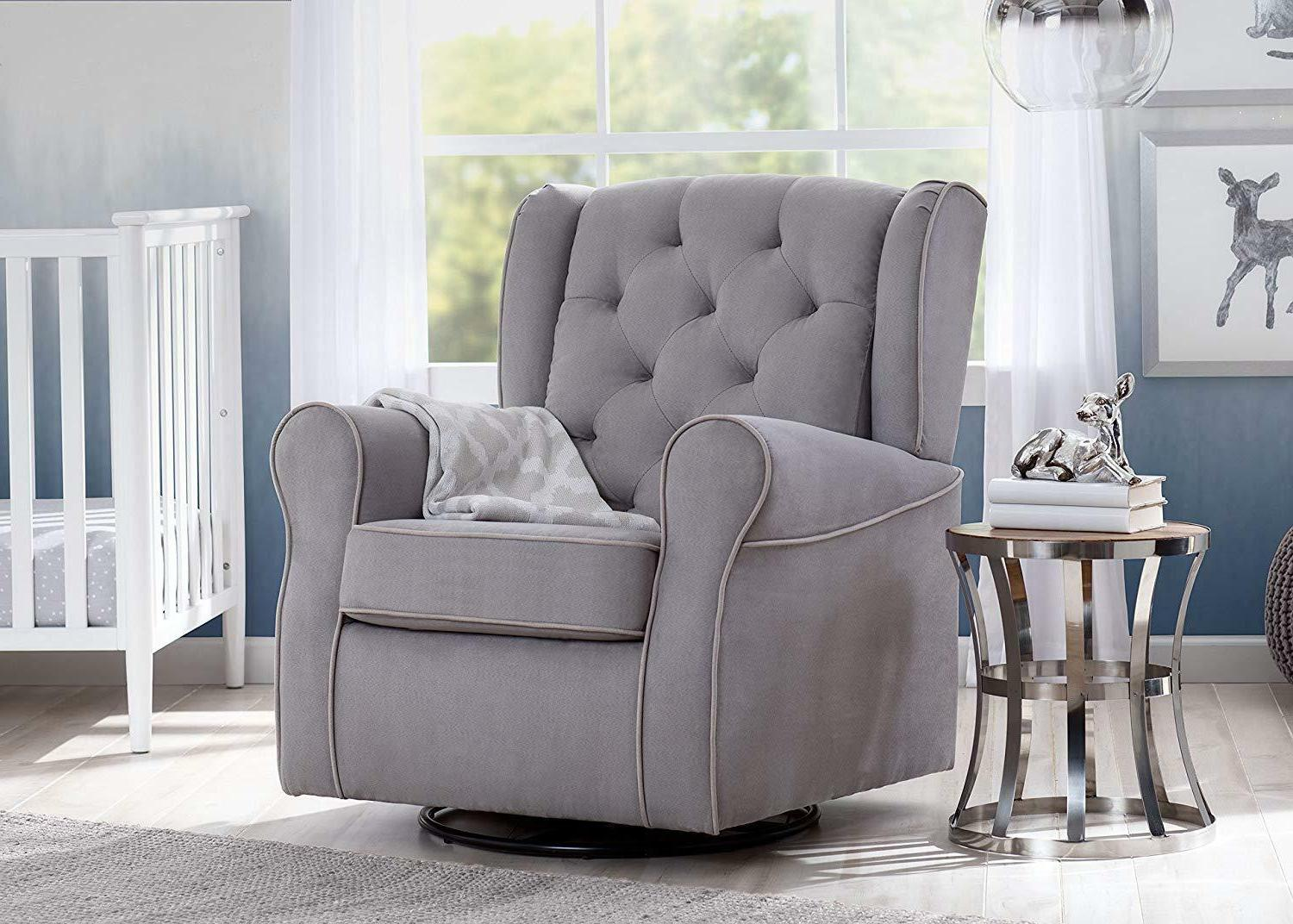 Delta Upholstered Glider Swivel Dove Grey with