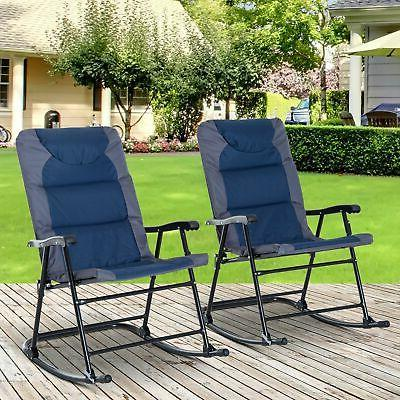 Outsunny Folding Padded Outdoor Camping Rocking Chair Set Ga