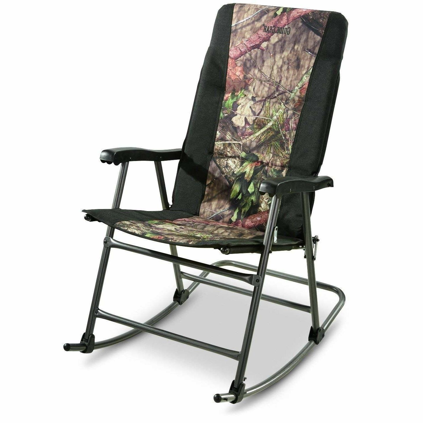 Folding 500lbs Camping Rocker Porch Outdoor Seat Furniture,